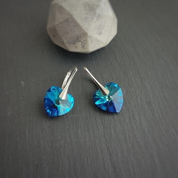 Medium heart earrings, Dangle and drop Earrings, Leverback, Bermuda blue, Heliotrope Purple, Red Heart, Aquamarine, Earlobe pierced