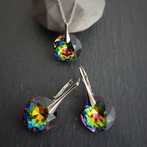 Green multicolour earrings and necklace jewellery set, Sterling Silver Set, Rainbow crystals