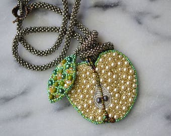 Bite Me Pendant DIY Bead embroidery kit- Granny Smith Colorway