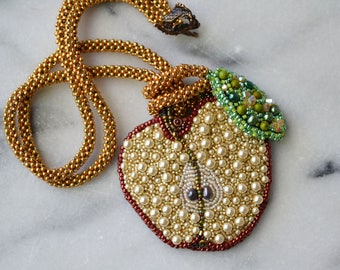 Bite Me Pendant DIY Bead Embroidery Kit- Red Delicious Colorway