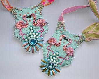 Flamingos in Love pendant kit DIY bead embroidery kit