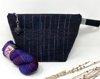 Knitter\u2019s Project Bag Handwoven Bag Aubergine Green Brown Striped Bag Crochet Project Bag Gift For Her OOAK| Unique Bag Knitting