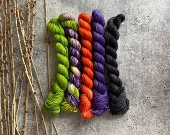 Witches Brew | Mini Skein Set | SW Merino Nylon Yarn | Strappy Knitting | Fingering Weight | Sock Yarn | Knitting Yarn | Crochet Yarn | OOAK