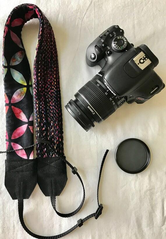 Courroie tissée à la main   Black w/Brights courroie   Courroie d'appareil photo numérique   Bracelet binoculaire   Cadeau pour lui   Cadeau pour elle   Photographie