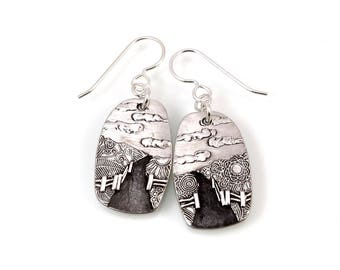 Sterling, Gate's Open, Horse Earrings, Equestrian Earring, Country Road, Horse Lover, Horse Jewelry, Equestrian, Equine Jewelry, 534ag