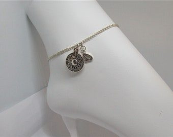 Here Comes the Sun, Sun Charm Anklet with Silver Initial, Beatles, Summer,  Beach, Sandals, Autumn, Ocean,