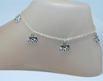 Elephant Trek Anklet, Silver Elephant charms, Ganesh, Gentle Giants, Africa, Serengeti, Sanctuary, Rescue, Hindu Deity, Safari, Mandala