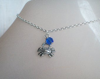 Crab Anklet, Sea Crab, Beach Wear, Ocean, Summer Anklets, Blue Bead, Sandals, Nautical, Dolphins, Aquarium, Starfish, Gift For Her