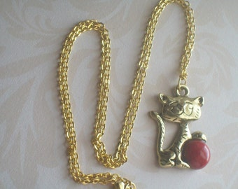 Gold Cat Necklace, Young Girls, Teens,  Cat Lovers, Cats Meow, Purrr, Maneki-Neko, Crazy Cat Lady, Caturday