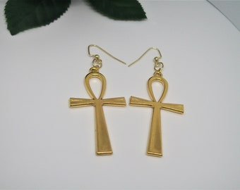 Ankh Earrings, Gold Ankhs, Egypt, Statement Earrings,Nefertiti, Bohemian Gypsy, Black and Gold, Africa,Amulet, Gold Fashion, Large Hoops
