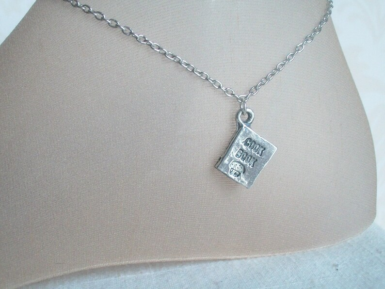 Cook Book Anklet Silver Cook Book Charm Kitchen Chef image 1
