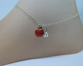 Apple Anklet with Silver Initial, Snow White, Fruit, Letters, Applesauce, Caramel Apples, Johnny Appleseed, Red Apple,