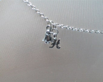 Penguin Anklet, Silver Initial, Arctic, Environmentalist, Happy Feet, Snow, Sea Otters,