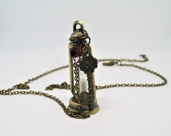 Bronze Hourglass Lantern, Key, Siam Swarovski Crystal, Lighthouse, Explorer, Cave, Rustic, Gothic, Pirate, Steam Punk, Wanderer,