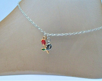 Rose Anklet, Rosebud, Silver Initial, Bouquet, Wedding, Birthday, Girl's Gift, Red Rose, Sandals, Barefootin, Beach, Dance, Party, Florist