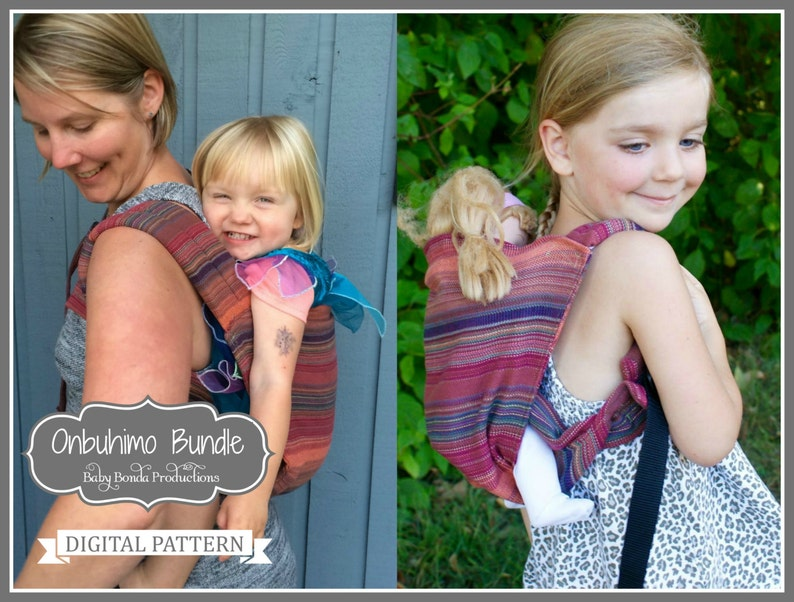 Onbuhimo Babywearing Baby Carrier Bundle Mommy And Me Toddler Carrier Toy Doll Carrier Digital Pattern Buckle Carrier