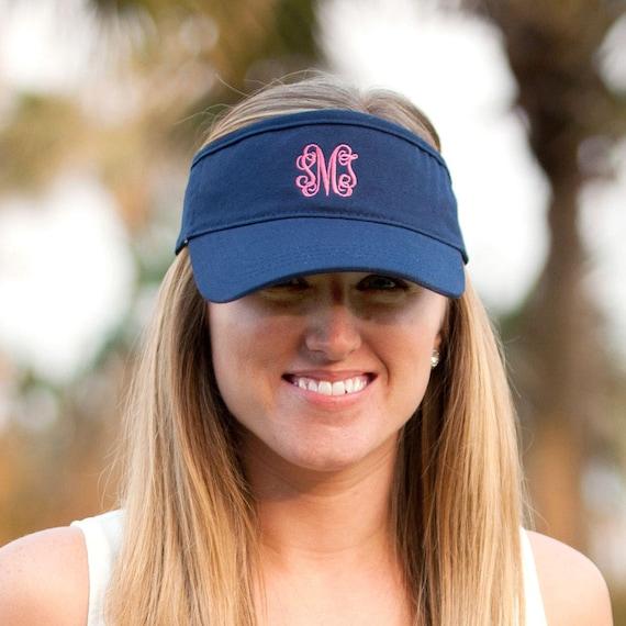Navy Women s Visor Monogram Visor Initials Tennis Hat  2c7b145ca54