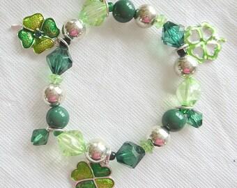 Shamrock Bracelet - Green Crystal Bracelet - Four Leaf Clover Bracelet - St. Patrick's Day Jewelry - Womens Bracelet - Shamrock Gift - Gift