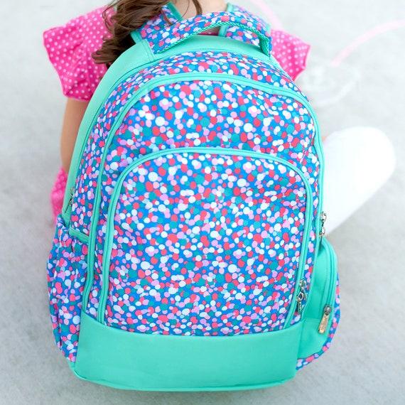 Confetti Girls Backpack Monogram Backpack Confetti Mint  0571b836f8d56