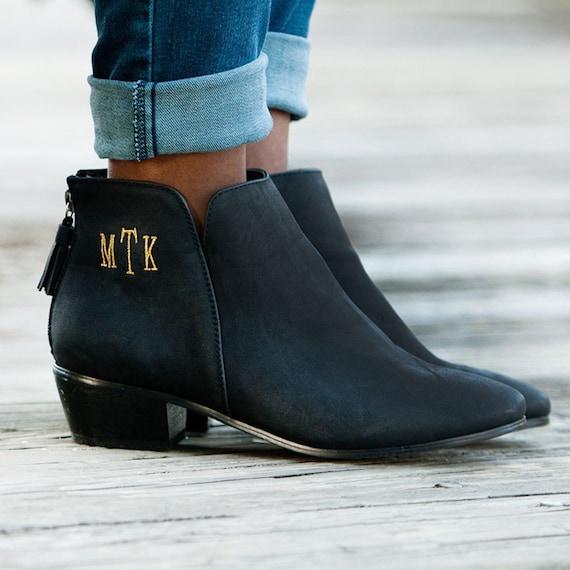 Schwarze Stiefeletten Monogramm Ankle Boots Herbst Stiefel Etsy