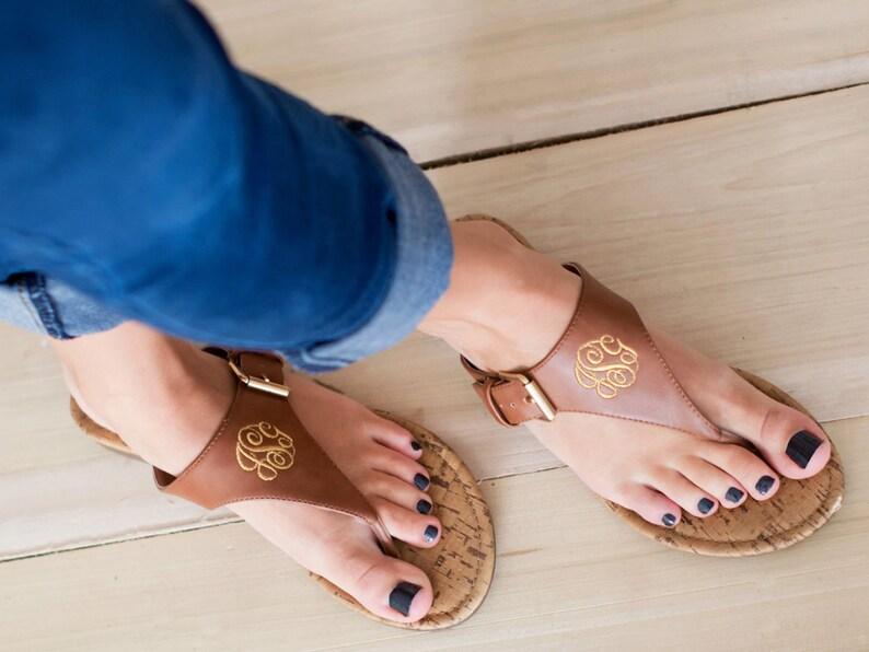 dbb78483dd58a Monogram Sandals - Brown Initial Sandals - Women's Sandals - Spring Sandals  - Personalized Sandals - Monogrammed Shoes - Monogram Gift