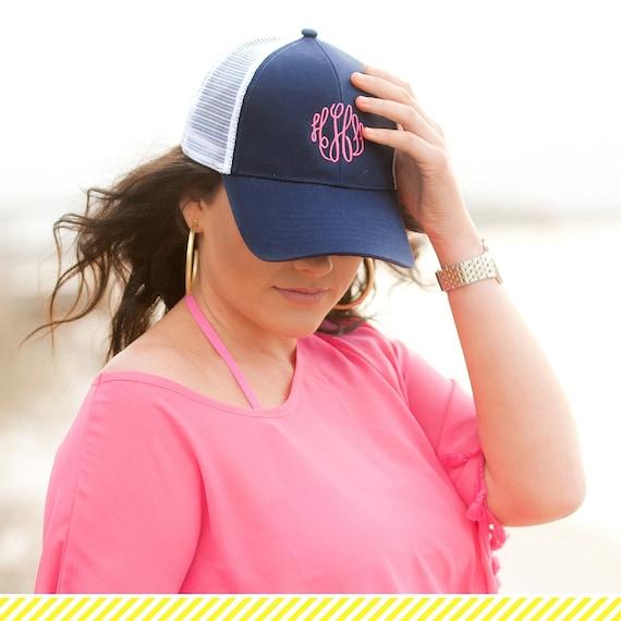 734869e3d61 Navy Trucker Hat Womens Hat Gift for Her Monogram Cap