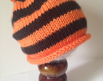 Cincinnati Bengals inspired knit orange and black striped hat fa9542eac
