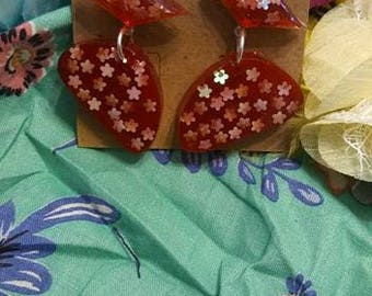 Sparkly Red Retro Resin Earrings