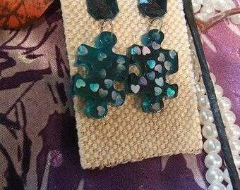 Puzzle Piece Retro Resin Earrings