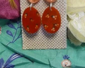 Atomic Cherry Red Retro Resin Earrings