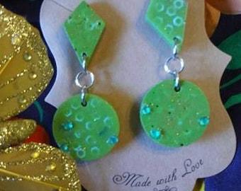 Lime Green Retro Resin Earrings