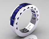 Mens Modern 950 Platinum Princess Blue sapphire Channel Cluster Sun Wedding Ring R274-PLATBS