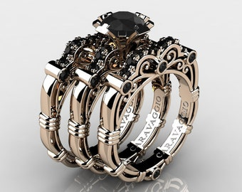 7ce25f5d8c5 Art Masters Caravaggio Trio 14K Rose Gold 1.0 Ct Black Diamond Engagement  Ring Wedding Band Set R623S3-14KRGBD