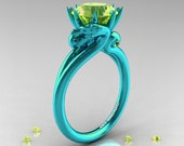 Art Masters 14K Turquoise Gold 3.0 Ct Yello Sapphire Dragon Engagement Ring R601R2-14KTGYS