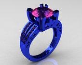 Modern Vintage 14K Blue Gold 3.0 Carat Pink Sapphire Designer Solitaire Ring R102-14KBLGPS