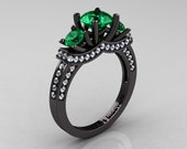French 14K Black Gold Three Stone Emerald Diamond Wedding Ring, Engagement Ring R182-14KBGDEM