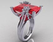 Modern Bridal 10K White Gold Radiant Ruby Diamond Honeymoon Cocktail Ring R292-10KWGDR
