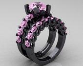 Modern Vintage 14K Black Gold 3.0 Ct Light Pink Sapphire Designer Wedding Ring Bridal Set R142S-14KBGLPS