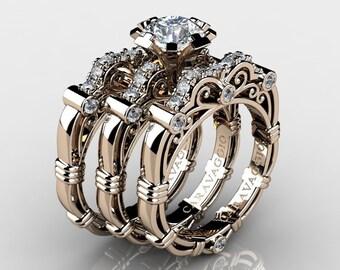 49746b532 Art Masters Caravaggio Trio 14K Rose Gold 1.0 Ct White Sapphire White  Diamond Engagement Ring Wedding Band Set R623S3-14KRGDWS