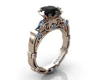 efaf76a1649964 Art Masters Caravaggio 14K Rose Gold 1.0 Ct Black Diamond Blue Topaz Engagement  Ring R623-14KRGBTBD