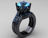 Classic 14K Black Gold 3.0 Carat Blue Topaz Solitaire Wedding Ring Wedding Band Set R301S-14KBGBT
