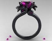 Modern Dragon 14K Black Gold 3.0 Ct Amethyst Designer Engagement Ring R601-14KBAM