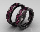 Classic Armenian 14K Black Gold Pink Sapphire Wedding Band Set R504BS-14KBGPS