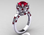 Modern Antique 18K White Gold 1.5 Carat Ruby Classic Armenian Solitaire Wedding Ring AR107-18KWGRR