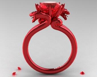 Modern Dragon 14K Red Gold 3.0 Ct Rubies Designer Engagement Ring R601-14KRGR
