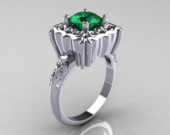 Modern Antique 14K White Gold 1.0 Carat Emerald Diamond Engagement Ring AR116-14KWGDEM