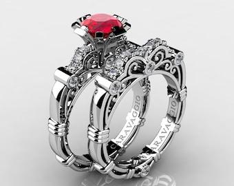 Art Masters Caravaggio 14K White Gold 1.0 Ct Ruby Diamond Engagement Ring Wedding Band Set R623S-14KWGDR