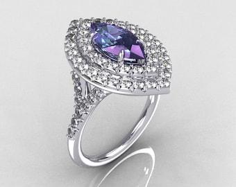 Soleste Style Bridal 10K White Gold 1.0 Carat Marquise Alexandrite Diamond Engagement Ring R117-10WGDAL