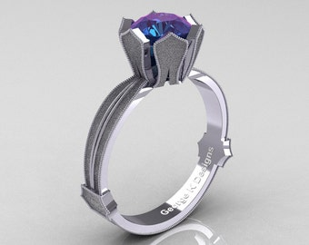 Classic Armenian 14K White Gold 1.0 Ct Alexandrite Solitaire Engagement Ring R377-14KWGSAL