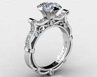 Caravaggio Venetian 14K White Gold 1.0 Ct White Sapphire White Diamond Engagement Ring R638-14KWGSDWS
